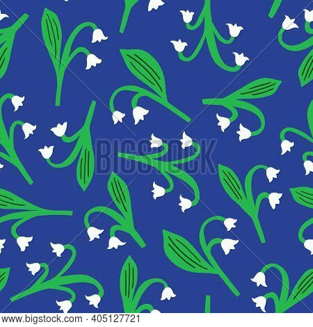 Lily Of The Valley Seamless Pattern. Scandinavian Texture. Kid Design. Vector Illustration.