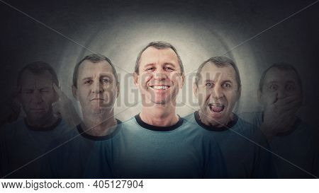 Middle Age Man Suffer Split Emotions Into Different Inner Personalities. Multipolar Mental Health Di