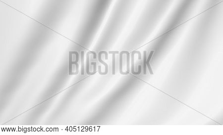 White Cloth Flutters In 3d. Waves Of Canvas Background Fabric.