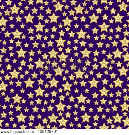 Magical Star Sky Seamless Pattern Vector. Dynamic Yellow And Purple Starry Sky Seamless Pattern. Set