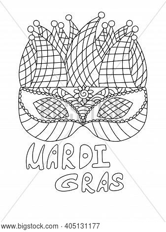 Mardi Gras Coloring Page Stock Vector Illustration. Venetian Mask And Hand Drawn Words Black Outline