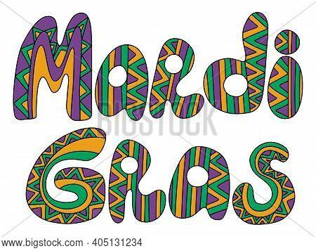 Mardi Gras Zentagle Words Colored Stock Vector Illustration. Ornamental Hand Drawn Lettering Words I