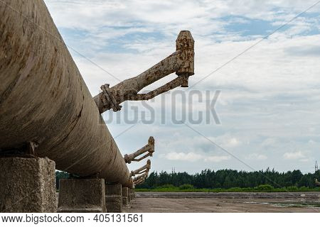A Non-working Rusty Old Cooling System For A Thermal Power Plant And A Nuclear Power Plant With Spra