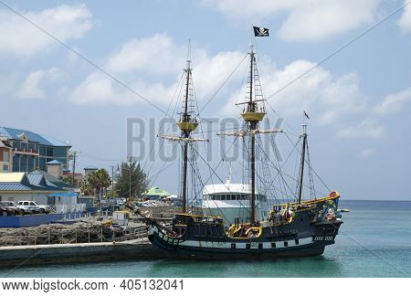 The Pirate Ship For Tourists Moored In George Town On Grand Cayman Island (cayman Islands).