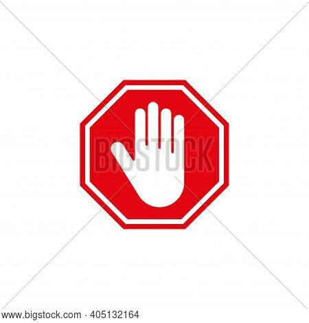 Stop Sign. A Forbidding Sign With A Man's Hand In A Red Octagon. Simple Vector Illustration On A Whi