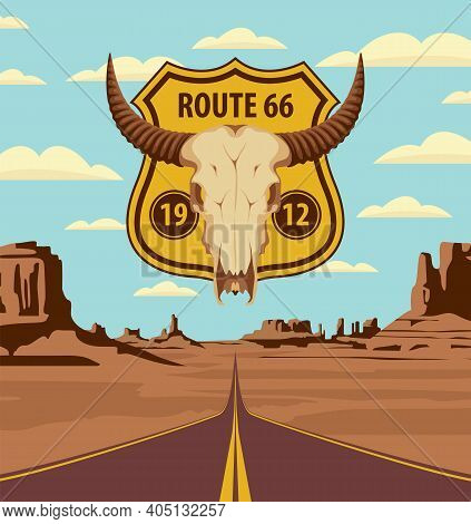 U.s. Historic Route 66. A Road Sign With A Skull Of Bull On The Background Of An Endless Highway And