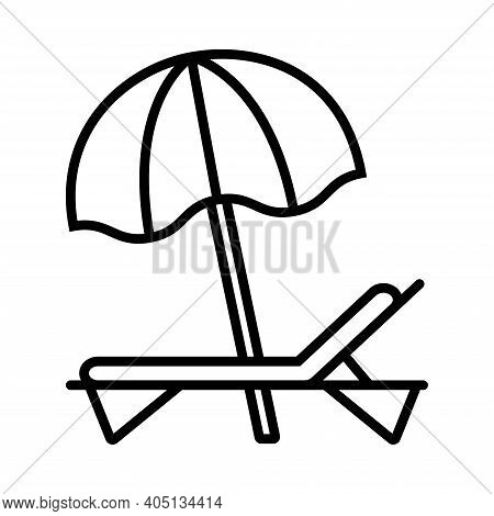 Beach Umbrella And Sun Lounger Line Icon On White Background, Vector Illustration