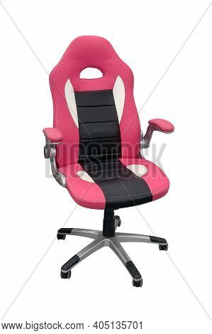 Pink Leather Office Chair With Wheels Isolated On White Background