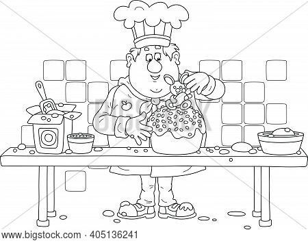 Funny Fat Cook Confectioner Standing At His Kitchen Work Table And Decorating A Fancy Easter Cake Wi
