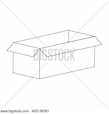 Carton Box Line Illustration Isolated On White Background. Vector.