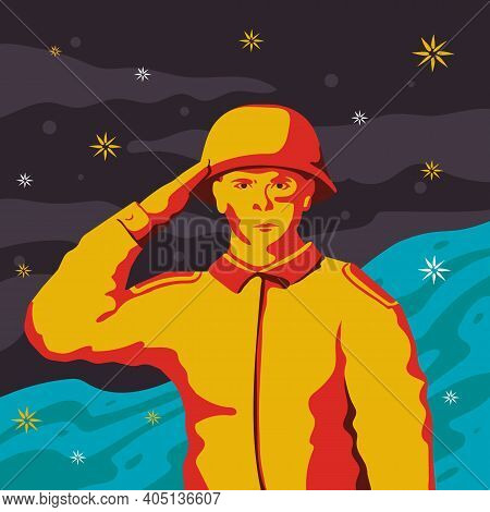 A Military Boy Makes A Military Salute. Pop Art In The Soviet Style. The Poster.