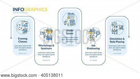 Staff Development Kinds Vector Infographic Template. Seminars, Job Shadowing Presentation Design Ele