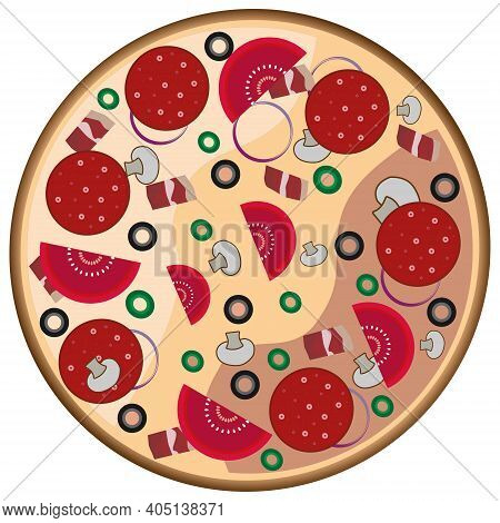 Vector Illustration, Big Round Pizza With Toppings