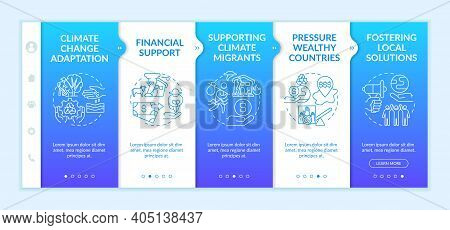 Climate Poverty Risk Groups Onboarding Vector Template. Responsive Mobile Website With Icons. Climat