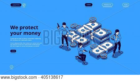 Guarantee Money Security, Financial Insurance, Safety Investment Concept. Vector Landing Page Of Fin