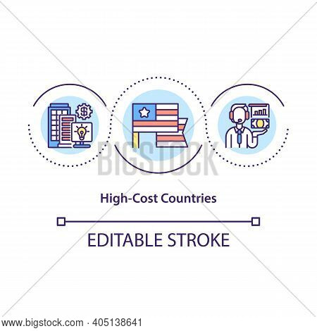 High Cost Countries Concept Icon. Country With Strong Economical System. Good Place For Business Ide