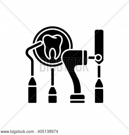 Dental Equipment Black Glyph Icon. Dental Procedures. Instruments For Dental Treatment. Cosmetic Den
