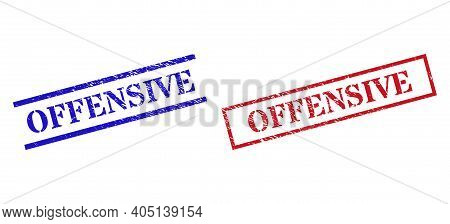 Grunge Offensive Rubber Stamps In Red And Blue Colors. Stamps Have Draft Style. Vector Rubber Imitat