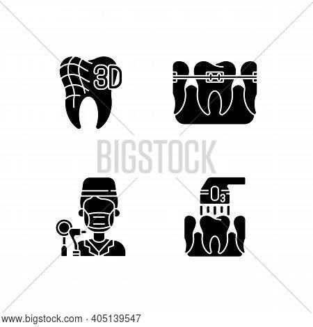 Dentistry Practice Black Glyph Icons Set On White Space. Professional Orthodontics Care Methods. Ozo