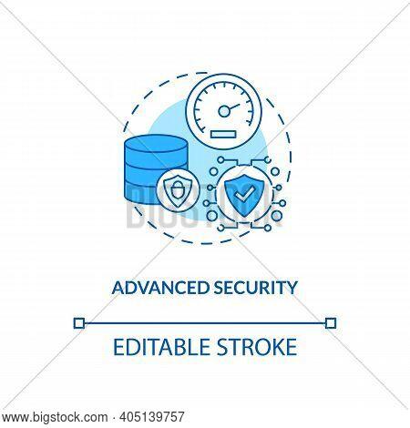 Advanced Security Concept Icon. Saas Advantage Idea Thin Line Illustration. Protecting Sensitive Dat