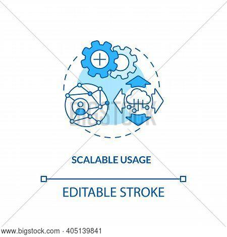 Scalable Usage Concept Icon. Saas Argument Idea Thin Line Illustration. Concurrent Accesses. Users D