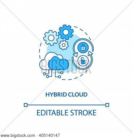 Hybrid Cloud Concept Icon. Saas Deployment Model Idea Thin Line Illustration. Flexibility, Security,