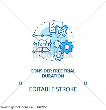 Considering Free Trial Duration Concept Icon. Saas Trial Marketing Idea Thin Line Illustration. Seve