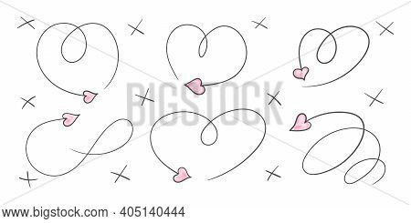 Arrows Heart. Valentine's Day Arrows. Pattern Hand Drawn. Hearts And Arrows. Vector Illustration