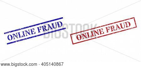 Grunge Online Fraud Seal Stamps In Red And Blue Colors. Stamps Have Rubber Style. Vector Rubber Imit