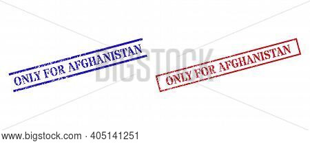 Grunge Only For Afghanistan Seal Stamps In Red And Blue Colors. Stamps Have Rubber Texture. Vector R