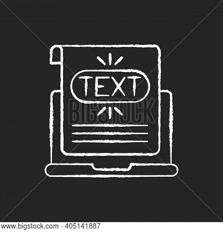 Anchor Text Chalk White Icon On Black Background. Text That Appears Highlighted In Hyperlink On Diff