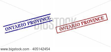 Grunge Ontario Province Rubber Stamps In Red And Blue Colors. Stamps Have Rubber Style. Vector Rubbe