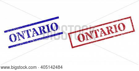 Grunge Ontario Rubber Stamps In Red And Blue Colors. Stamps Have Distress Style. Vector Rubber Imita