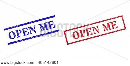 Grunge Open Me Rubber Stamps In Red And Blue Colors. Stamps Have Distress Surface. Vector Rubber Imi