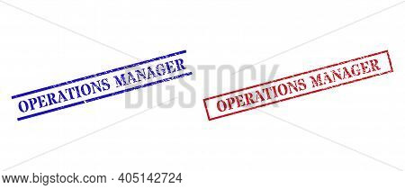Grunge Operations Manager Stamp Seals In Red And Blue Colors. Seals Have Rubber Style. Vector Rubber