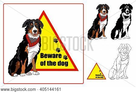Beware Of Dog Sign. Guard Dog. Caution. Vector Illustration.