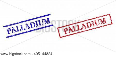 Grunge Palladium Seal Stamps In Red And Blue Colors. Stamps Have Rubber Surface. Vector Rubber Imita