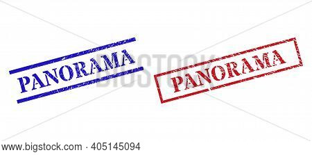 Grunge Panorama Rubber Stamps In Red And Blue Colors. Stamps Have Rubber Surface. Vector Rubber Imit