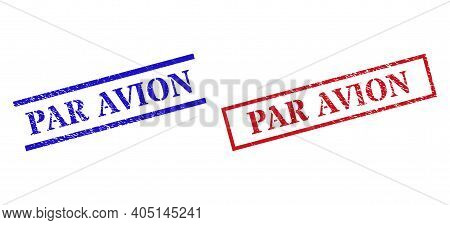 Grunge Par Avion Stamp Seals In Red And Blue Colors. Seals Have Rubber Style. Vector Rubber Imitatio