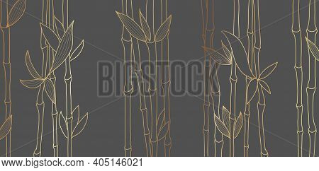 Bamboo Luxury Gold Line Design On Dark Background. Gold Bamboo Trees Walpaper For Wall Arts, Fabric,