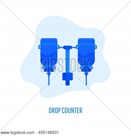 Drop Counter Icon. Infusion Bottle, Infusion Drip On White Background. Vector Flat Illustration