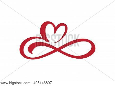 Heart Love Sign Forever. Infinity Romantic Symbol Cut Linked, Join, Passion And Wedding Logo. Templa