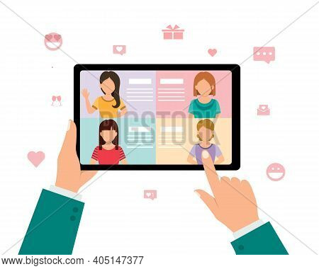 Online Dating Service With Long Distance Relationship Concept, Man Hand Holding Mobile Phone And Cho