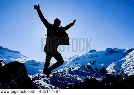 The Happiness Of An Energetic, Enthusiastic Mountaineer Who Succeeds At The Top