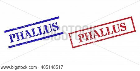 Grunge Phallus Seal Stamps In Red And Blue Colors. Stamps Have Rubber Surface. Vector Rubber Imitati