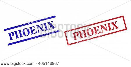 Grunge Phoenix Seal Stamps In Red And Blue Colors. Seals Have Rubber Texture. Vector Rubber Imitatio