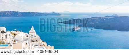 Three Bells Of Fira In Santorini, Greece With Blue Sky. Amazing Travel Landscape, Luxury Summer Vaca