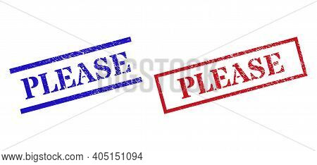 Grunge Please Rubber Stamps In Red And Blue Colors. Stamps Have Rubber Style. Vector Rubber Imitatio