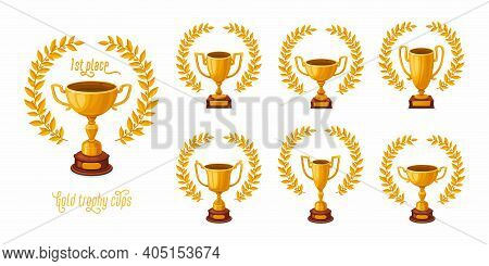 Gold Trophy Cups With Laurel Wreaths. Trophy Award Cups Set With Different Shapes - 1st Place Winner