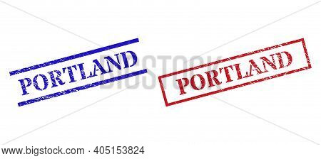 Grunge Portland Seal Stamps In Red And Blue Colors. Stamps Have Rubber Texture. Vector Rubber Imitat